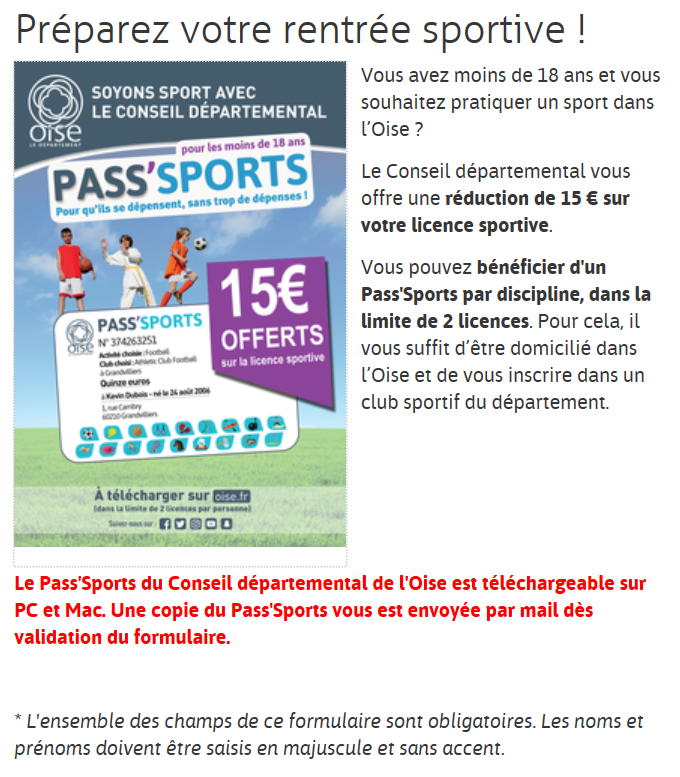 Capture pass sport