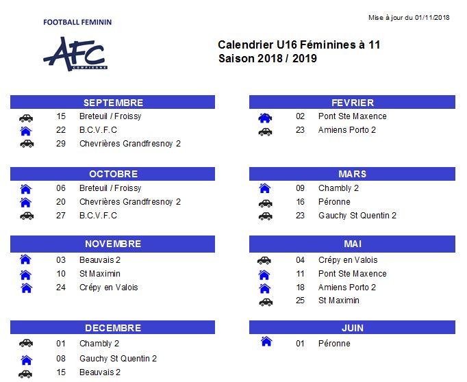 Calendrier U16F féminines à 11 2018-2019 version du 01112018