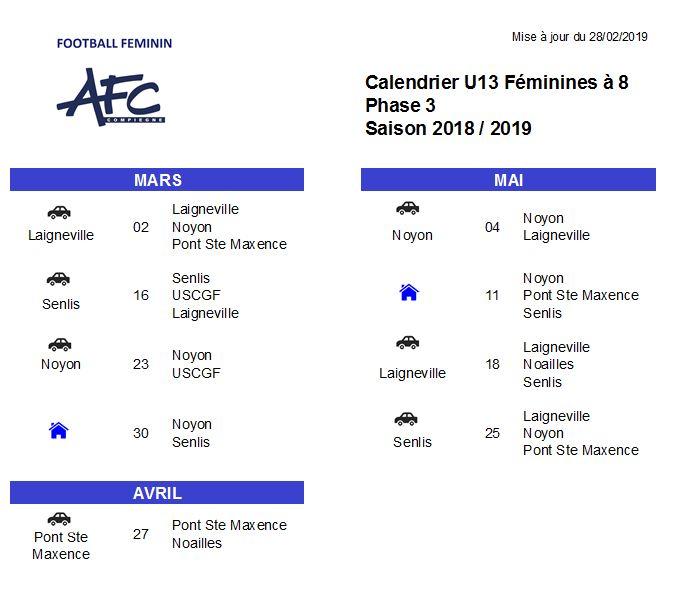 Calendrier U13F à 8 2018-2019 phase 3